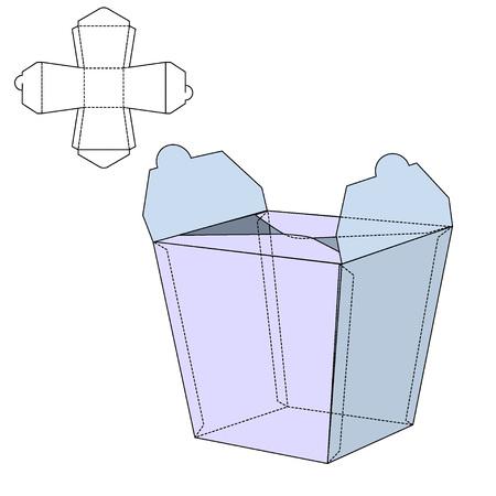 Ilustración del vector de fideos Diecut Craft Caja de diseño, Web site, fondo, bandera. Plantilla plegable paquete al por menor. Doblar pack con dieline para su marca en él