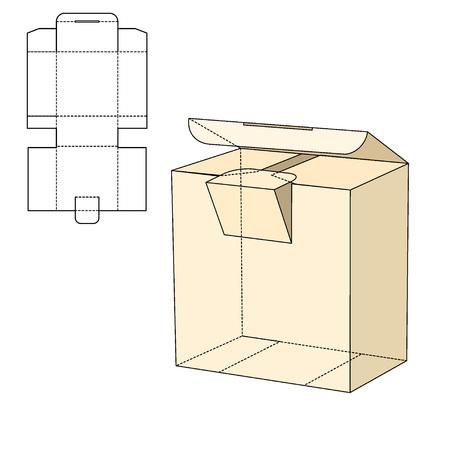 Vector Illustration von Diecut Craft Box für Design, Website, Hintergrund, Banner. Einzelhandel Folding Paket Vorlage. Faltenpack mit Dieline für Ihre Marke auf Standard-Bild - 51583386