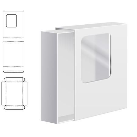 Illustration Vecteur de Clear Dieline Folding Carton avec fenêtre pour la conception, le site, fond, bannière. Blanc Template Package isolé sur blanc. Pack Retail avec decoupees pour votre marque sur elle