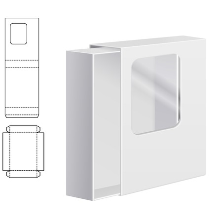 dieline: Vector Illustration of Clear dieline Folding Carton Box with window for Design, Website, Background, Banner. White Package Template isolated on white. Retail pack with diecut for your brand on it