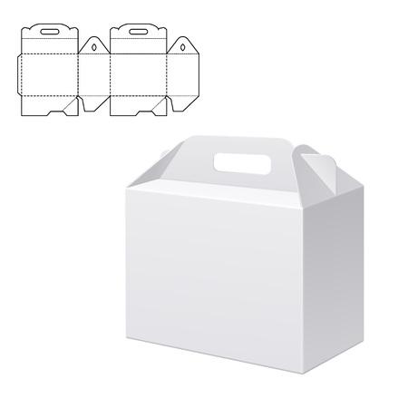 Ilustración del vector de Claro plegable Caja de cartón con el troquelado de diseño, Web site, fondo, bandera. Habdle blanco plantilla de paquete aislado en blanco. paquete al por menor con dieline para su marca en él