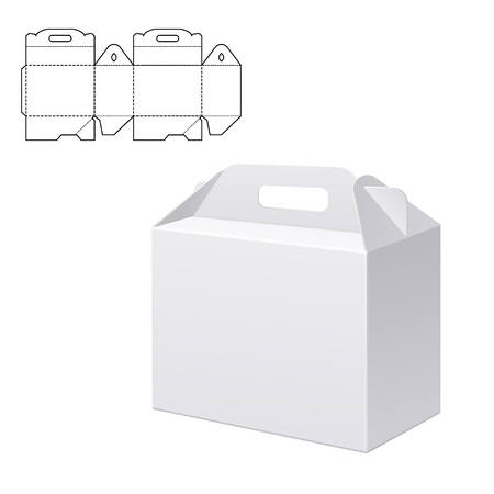 diecut: Vector Illustration of Clear Folding Carton Box with diecut for Design, Website, Background, Banner. White Habdle Package Template isolated on white. Retail pack with dieline for your brand on it