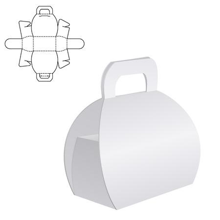 Vector Illustratie van Clear Folding kartonnen doos met diecut voor Design, Website, achtergrond, Banner. White Habdle template pakket op wit wordt geïsoleerd. Retail pack met kapvorm voor uw merk op Stock Illustratie