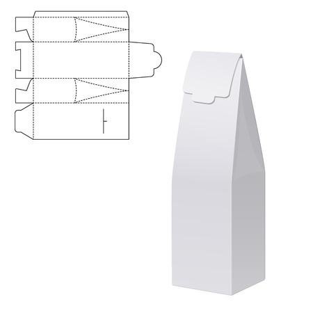 Illustration Vecteur de cadeau Die Cut artisanat Box pour la conception, le site, fond, bannière. Pliage package vigne modèle de bouteille. Effacer le pack Fold alhogol avec la ligne moule pour votre marque sur elle. Blanc Mockup