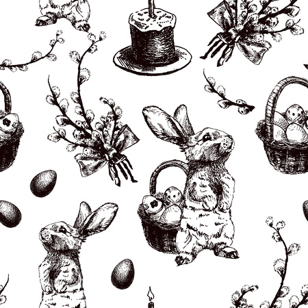 Vector Illustration of Happy Easter Hand Drawn Seamless PAttern Set for Design, Website, Background, Banner. Ink Rabbit, egg, willow and cake Holiday Element Template. Print for Wallpaper Stock Vector - 53292123