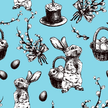 Vector Illustration of Happy Easter Hand Drawn Seamless PAttern Set for Design, Website, Background, Banner. Ink Rabbit, egg, willow and cake Holiday Element Template. Print for Wallpaper Ilustrace