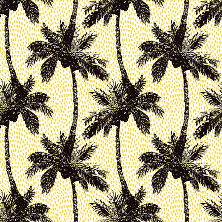 palm of hand: Vector Illustration of Palm Tree Sketch for Design, Website, Background, Banner. Hand Drawing Floral on Beach. Travel and Vacation Ink Element Template. Semless Pattern Wallpaper