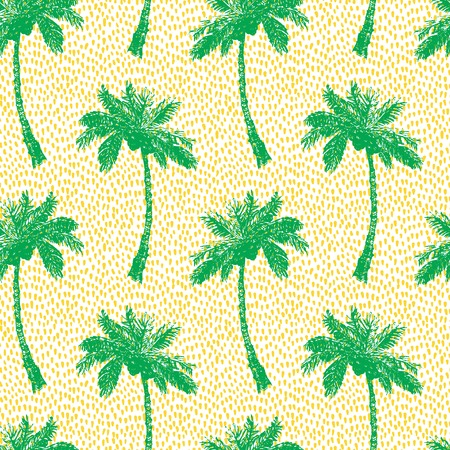 leaf illustration: Vector Illustration of Palm Tree Sketch for Design, Website, Background, Banner. Hand Drawing Floral on Beach. Travel and Vacation Ink Element Template. Semless Pattern Wallpaper