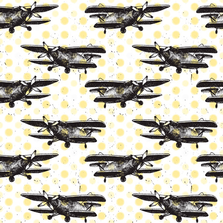 textile background: Vector Illustration of Small Plane Sketch for Design, Website, Background, Banner. Hand Drawing Airplane Transport. Travel and Vacation Ink Element Template. Seamless Pattern Wallpaper. Yellow and Black