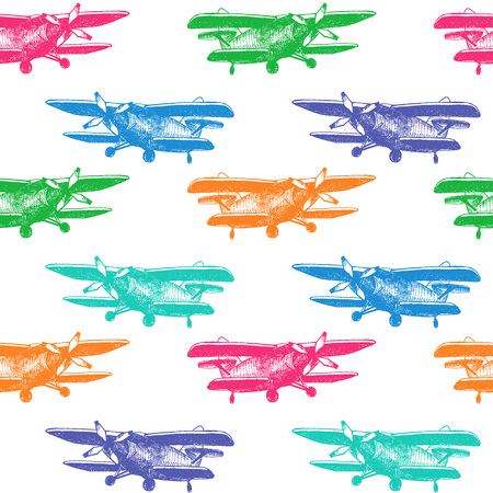 Vector Illustration of Small Plane Sketch for Design, Website, Background, Banner. Hand Drawing Airplane Transport. Travel and Vacation Ink Element Template. Seamless Pattern Wallpaper. Blue, green, orange, Pink, Colorful