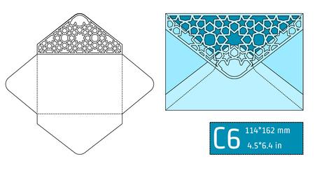 paperboard packaging: Vector Illustration of Envelope Die cut Mock up for Design, Website, Background, Banner. Blueprint texture for Gift Pack. Wedding Invitation Element Template. Blue