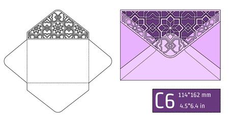 paperboard packaging: Vector Illustration of Envelope Die cut Mock up for Design, Website, Background, Banner. Blueprint texture for Gift Pack. Wedding Invitation Element Template. purple, Violet