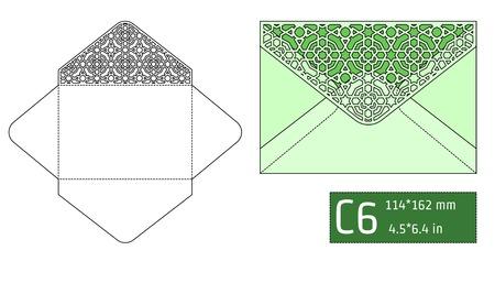 paperboard packaging: Vector Illustration of Envelope Die cut Mock up for Design, Website, Background, Banner. Blueprint texture for Gift Pack. Wedding Invitation Element Template. Green Illustration