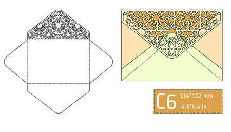 die cut: Vector Illustration of Envelope Die cut Mock up for Design, Website, Background, Banner. Blueprint texture for Gift Pack. Wedding Invitation Element Template. Yellow and gold Illustration