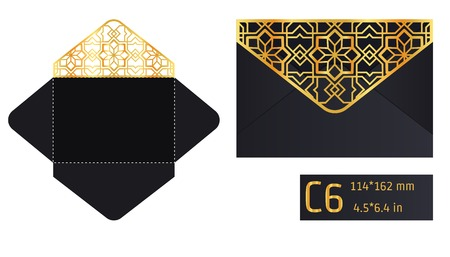 paperboard packaging: Vector Illustration of Envelope Die cut Mock up for Design, Website, Background, Banner. Blueprint texture for Gift Pack. Wedding Invitation Element Template. Gold and Black