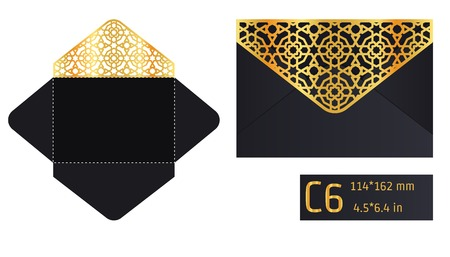 die cut: Vector Illustration of Envelope Die cut Mock up for Design, Website, Background, Banner. Blueprint texture for Gift Pack. Wedding Invitation Element Template. Gold and Black