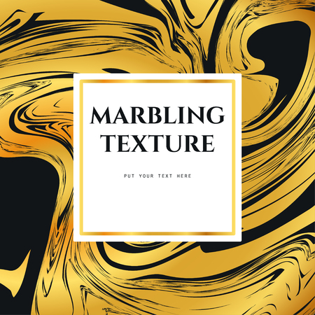 marbling: Vector Illustration of Marbling Texture  for Design, Website, Background, Banner. Ink Liquid Element Template. Watercolor Pattern. Gold and Black Greeting Card Illustration