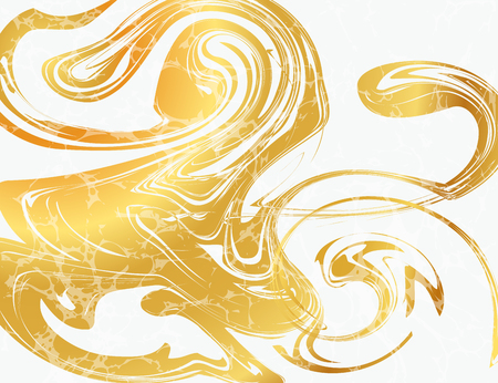 Vector Illustration of Marbling Texture  for Design, Website, Background, Banner. Ink Liquid Element Template. Watercolor Pattern. Gold and Black