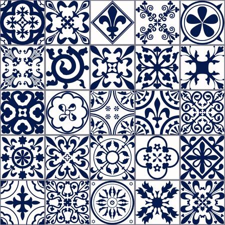 Ilustracja wektorowa z marokańskimi kafelkami Szwu do projektowania, witryny, tło, transparent. Hiszpański elementem Tapeta, ceramiczne lub tekstylnym. Średniowiecze Ornament Texture Template. White and Blue Ilustracje wektorowe