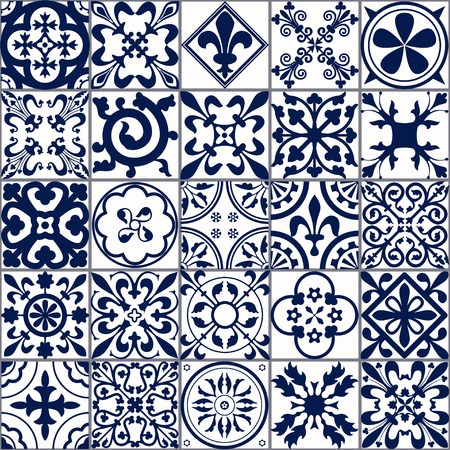 mosaic tiles: Vector Illustration of Moroccan tiles Seamless Pattern for Design, Website, Background, Banner. Spanish element for Wallpaper, Ceramic or Textile. Middle Ages Ornament Texture Template. White and Blue