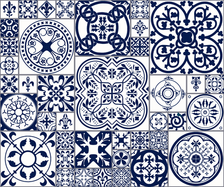 Vector Illustration of Moroccan tiles Seamless Pattern for Design, Website, Background, Banner.Spanish element for Wallpaper, Ceramic or Textile. Middle Ages Ornament Texture Template. White and Blue Vettoriali