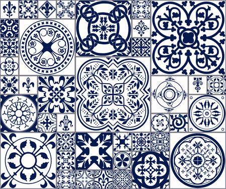 Illustrazione di vettore del Marocco piastrelle Seamless per disegno, Web site, sfondo, banner. Elemento spagnolo per carta da parati, in ceramica o tessile. Medioevo template texture ornamento. White and Blue Archivio Fotografico - 54828843