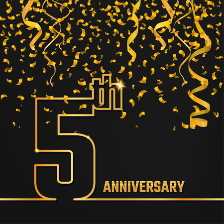 5th: Vector Illustration of Anniversary 5th Outline for Design, Website, Background, Banner. Jubilee silhouette Element Template for festive greeting card. Shiny gold Confetti celebration