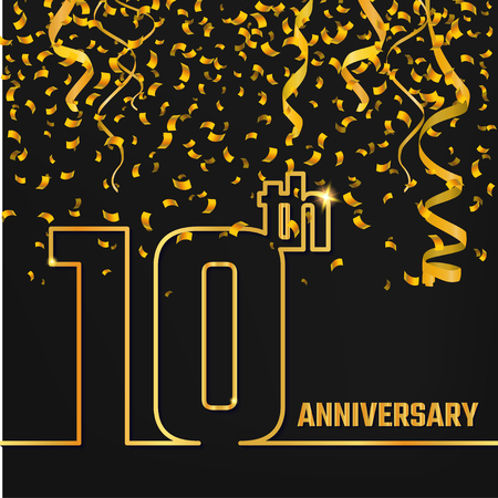 10th: Vector Illustration of Anniversary 10th Outline for Design, Website, Background, Banner. Jubilee silhouette Element Template for festive greeting card. Shiny gold Confetti celebration Illustration