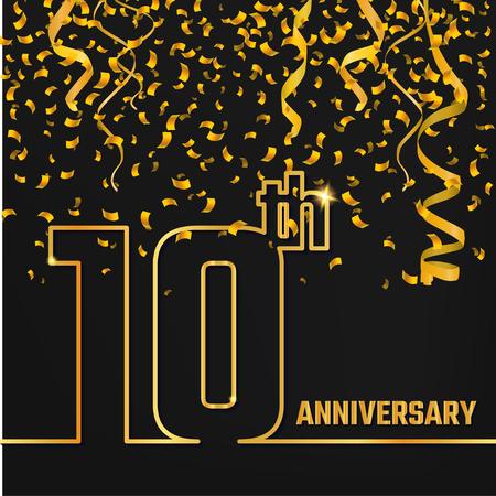 Vector Illustration of Anniversary 10th Outline for Design, Website, Background, Banner. Jubilee silhouette Element Template for festive greeting card. Shiny gold Confetti celebration Illustration