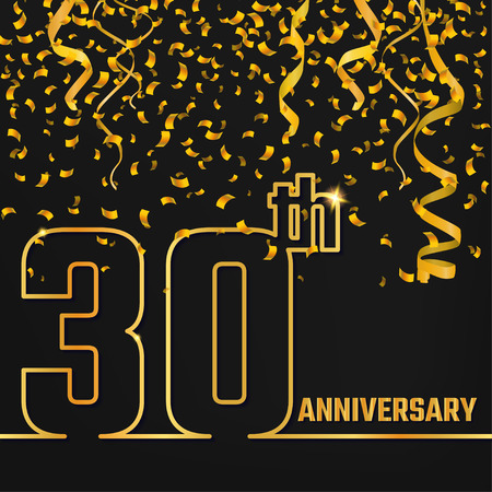 30th: Vector Illustration of Anniversary 30th Outline for Design, Website, Background, Banner. Jubilee silhouette Element Template for festive greeting card. Shiny gold Confetti celebration Illustration