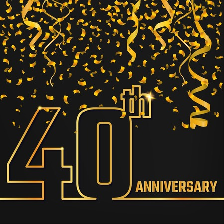 40th: Vector Illustration of Anniversary 40th Outline for Design, Website, Background, Banner. Jubilee silhouette Element Template for festive greeting card. Shiny gold Confetti celebration