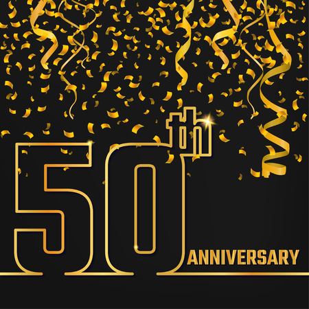 50th: Vector Illustration of Anniversary 50th Outline for Design, Website, Background, Banner. Jubilee silhouette Element Template for festive greeting card. Shiny gold Confetti celebration