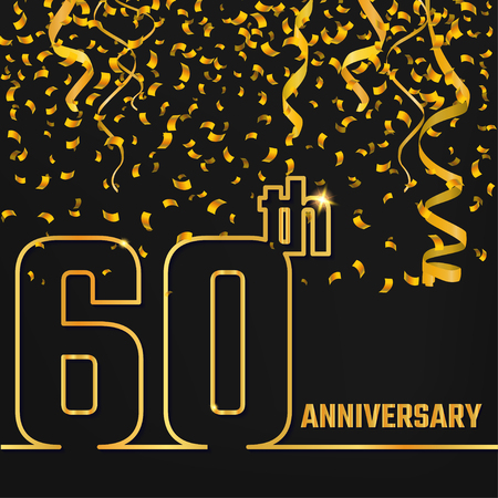 60th: Vector Illustration of Anniversary 60th Outline for Design, Website, Background, Banner. Jubilee silhouette Element Template for festive greeting card. Shiny gold Confetti celebration