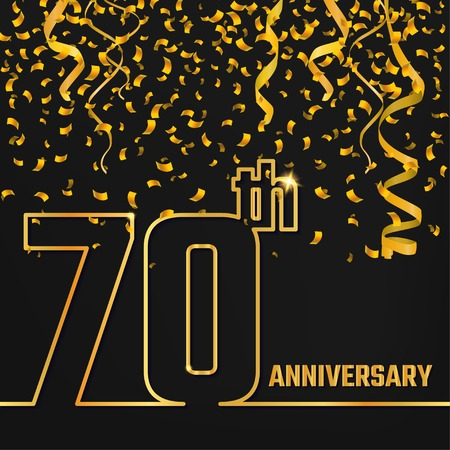 Vector Illustration of Anniversary 70th Outline for Design, Website, Background, Banner. Jubilee silhouette Element Template for festive greeting card. Shiny gold Confetti celebration Иллюстрация