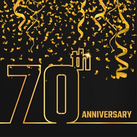 Vektor-Illustration der Jahrestag 70. Entwurf für Design, Website, Hintergrund, Banner. Jubilee Silhouette Element Template für festliche Grußkarte. Glänzendes Gold Konfetti Feier Standard-Bild - 54828852