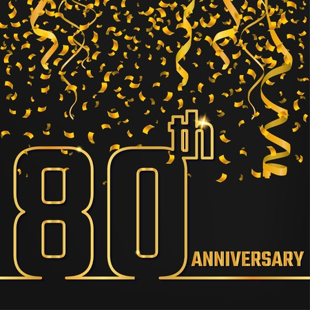 80th: Vector Illustration of Anniversary 80th Outline for Design, Website, Background, Banner. Jubilee silhouette Element Template for festive greeting card. Shiny gold Confetti celebration