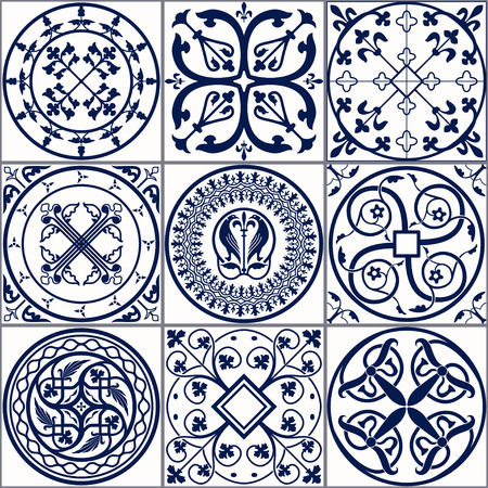 Vector Illustration of Moroccan tiles Seamless Pattern for Design, Website, Background, Banner. Spanish element for Wallpaper, Ceramic or Textile. Middle Ages Ornament Texture Template. White and Blue Фото со стока - 54828966