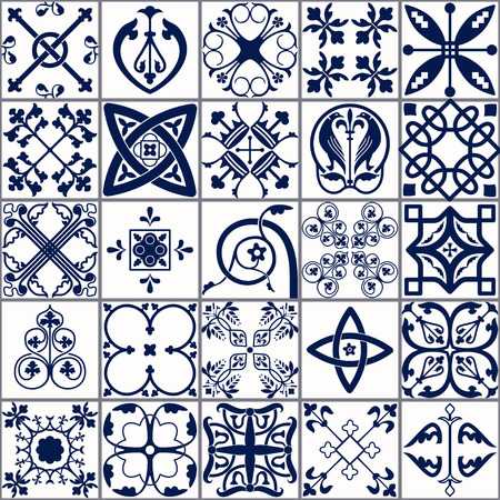 flower age: Vector Illustration of Moroccan tiles Seamless Pattern for Design, Website, Background, Banner. Spanish element for Wallpaper, Ceramic or Textile. Middle Ages Ornament Texture Template. White and Blue