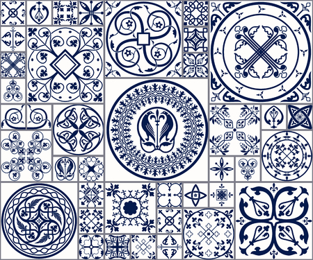 flower bath: Vector Illustration of Moroccan tiles Seamless Pattern for Design, Website, Background, Banner. Spanish element for Wallpaper, Ceramic or Textile. Middle Ages Ornament Texture Template. White and Blue