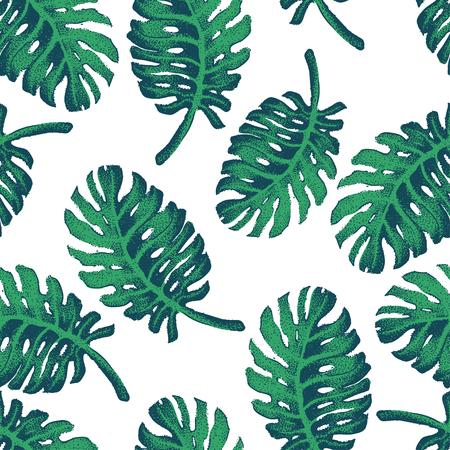 feuille arbre: Illustration Vecteur de Palm Tree Sketch pour la conception, le site, fond, banni�re. Main Dessin floral sur la plage. Voyage et encre vacances Element Template. Seamless Wallpaper