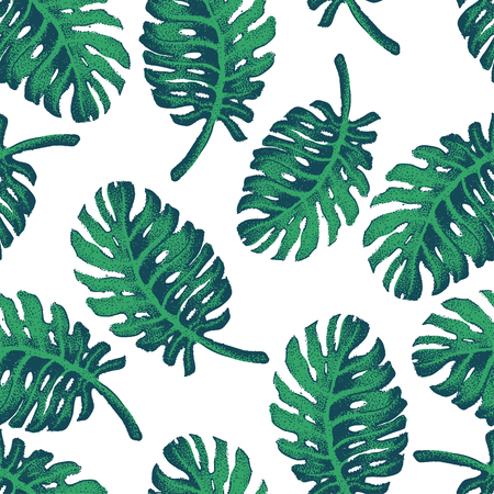 banana leaves: Vector Illustration of Palm Tree Sketch for Design, Website, Background, Banner. Hand Drawing Floral on Beach. Travel and Vacation Ink Element Template. Seamless Pattern Wallpaper