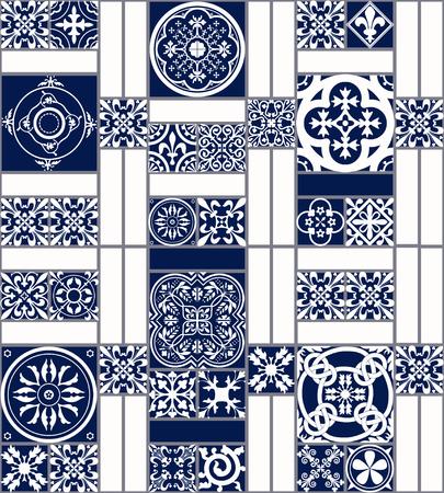 Ilustración de azulejos de Marruecos Patrón sin fisuras para el diseño, Web site, fondo, bandera. elemento de español para fondo de pantalla, cerámica o textil. Plantilla del ornamento de la textura Edad Media. Blanco y azul