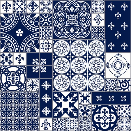 모로코의 벡터 일러스트 레이 션 디자인, 웹 사이트, 배경, 배너 원활한 패턴 타일. 벽지, 세라믹 또는 섬유 스페인어 요소입니다. 중세 장식 텍스처 템플릿입니다. 화이트와 블루 스톡 콘텐츠 - 54830532