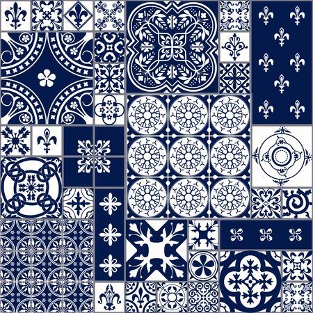 Illustrazione di vettore del Marocco piastrelle Seamless per disegno, Web site, sfondo, banner. Elemento spagnolo per carta da parati, in ceramica o tessile. Medioevo template texture ornamento. White and Blue Archivio Fotografico - 54830532