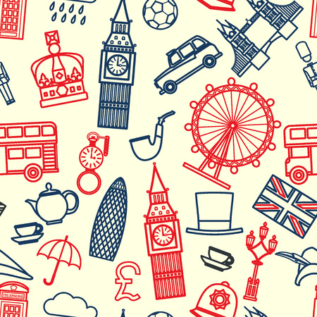 wheel guard: Vector Illustration of England Icon Outline Seamless PAttern for Design, Website, Background, Banner.