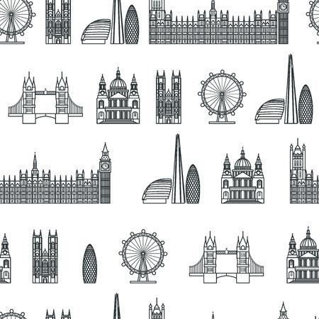 westminster: Vector Illustration of London Icon Seamless PAttern Outline for Design, Website, Background, Banner.