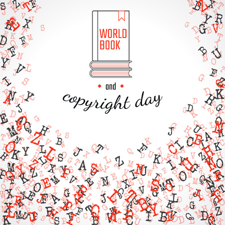 copyright: Vector Illustration of Book and copuright day Background for Design, Website, Banner. Letters ABC  Element Template in black. Alphabet  Scattered Symbol Pattern. 23th april Illustration