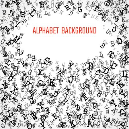 white symbol: Vector Illustration of Alphabet Background for Design, Website, Banner. Letters ABC  Element Template in black. Scattered Symbol Pattern Illustration