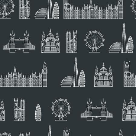 Vector Illustration of London Icon Seamless PAttern Outline for Design, Website, Background, Banner.