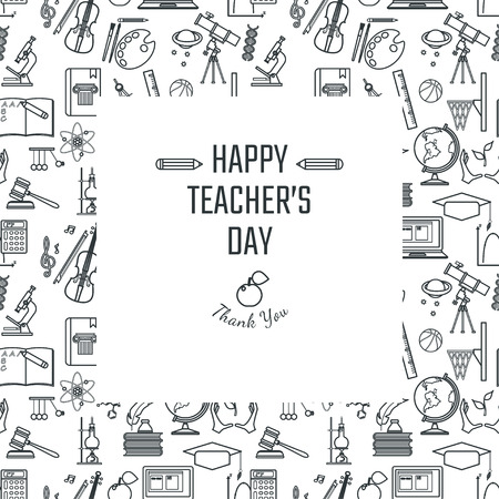 Vector Illustration of Teachers Day Holidays for Design, Website, Background, Banner. Greeting card for School Element icon Template. Subject icons